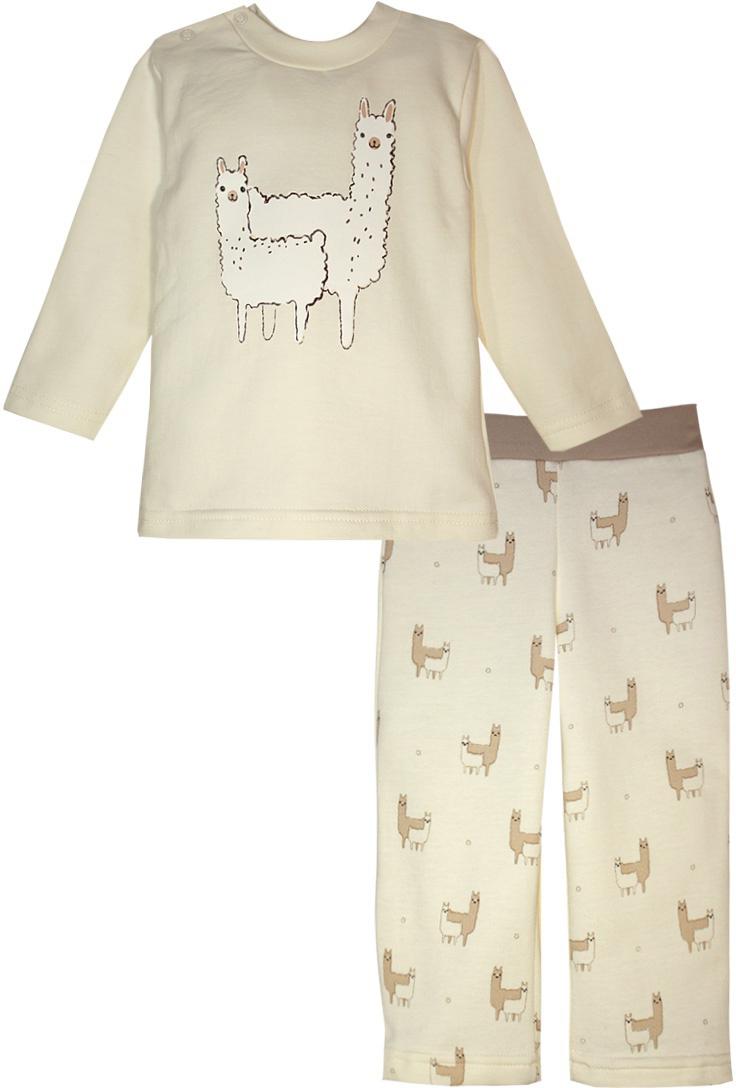 Пижама детская КотМарКот Обаятельные Ламы, цвет: бежевый. 16110. Размер 9216110Детская пижама КотМарКот Обаятельные Ламы состоит из футболки с длинным рукавом и брюк. Выполненная из натурального хлопка, она мягкая и легкая, не сковывает движения, хорошо пропускает воздух.Футболка с длинными рукавами и круглым вырезом горловины имеет застежки-кнопки по плечевому шву, что помогает с легкостью переодеть ребенка. Вырез горловины и манжеты на рукавах дополнены трикотажными эластичными резинками. Брюки прямого кроя на талии имеют эластичную резинку.Пижама оформлена принтом.В такой пижаме ваш ребенок будет чувствовать себя комфортно и уютно во время сна.