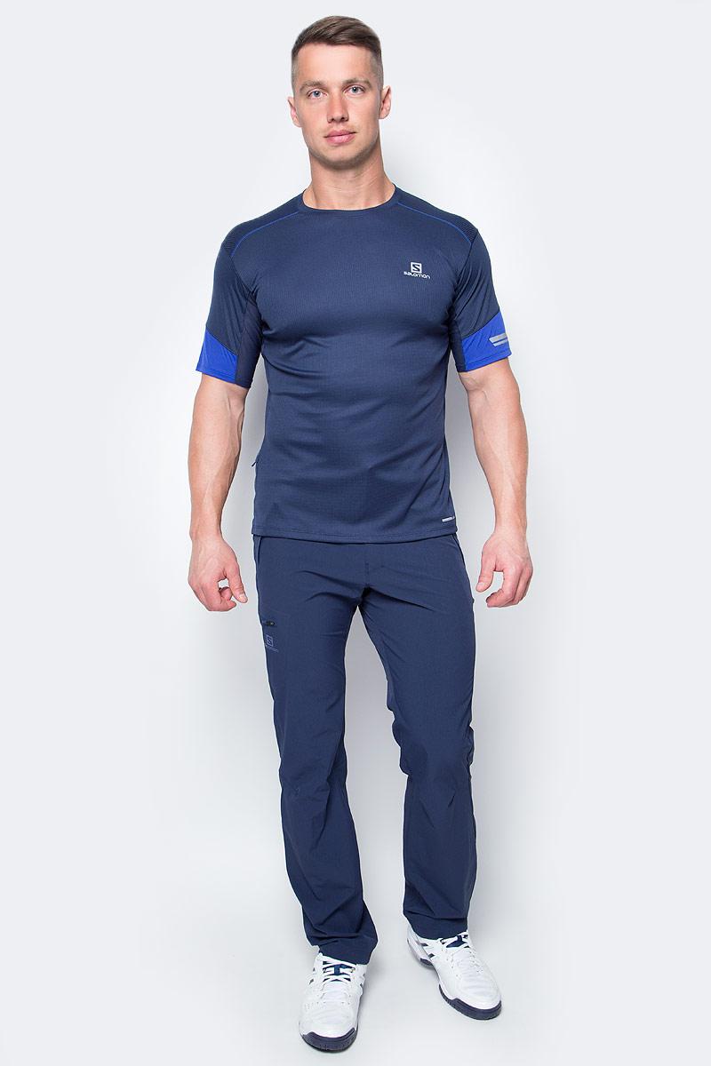 Футболка для бега мужская Salomon Agile Ss Tee, цвет: синий. L39261200. Размер L (52/54)L39261200Легкая функциональная футболка Salomon с сетчатым карманом для спортивного геля и светоотражающими на 360° элементами для бега в любое время суток.