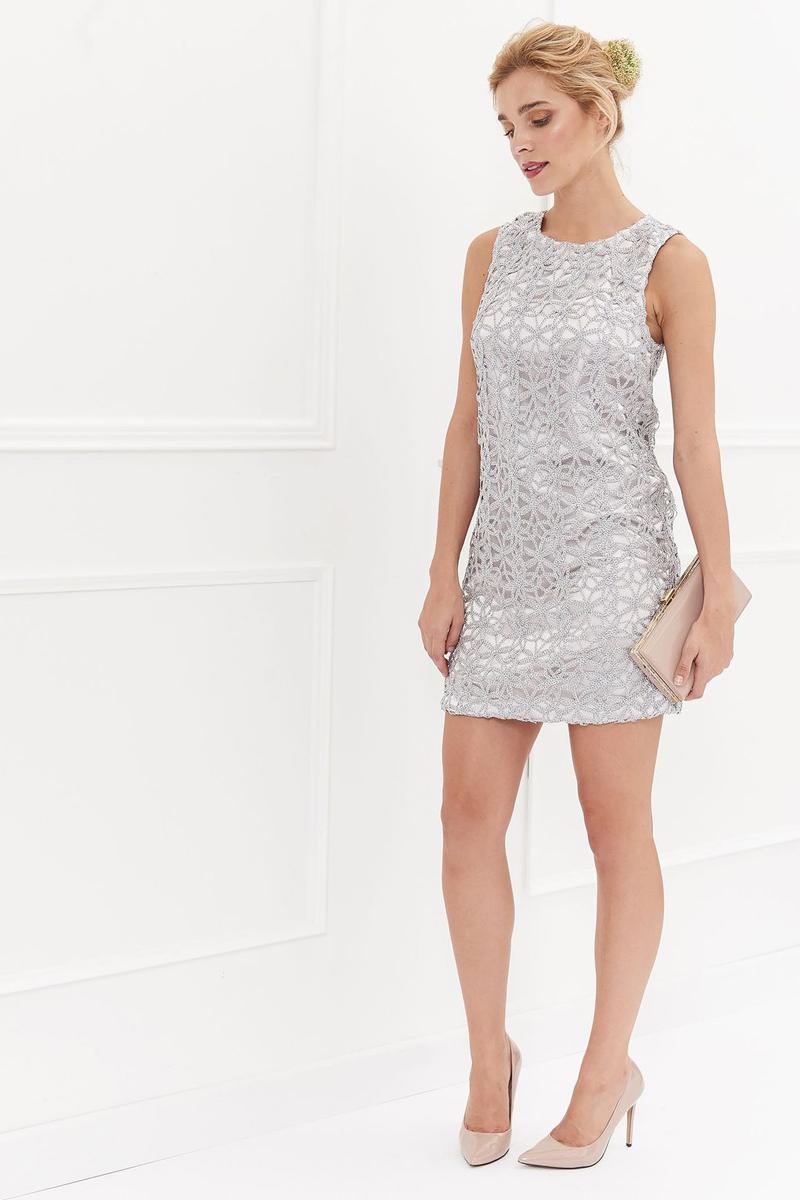 Платье Top Secret, цвет: серый. SSU1896SZ. Размер 42 (50)SSU1896SZКрасивое платье Top Secret изготовлено из полиэстера. Модель с круглым вырезом горловины застегивается по спинке на молнию. Верх платья декорирован кружевом.