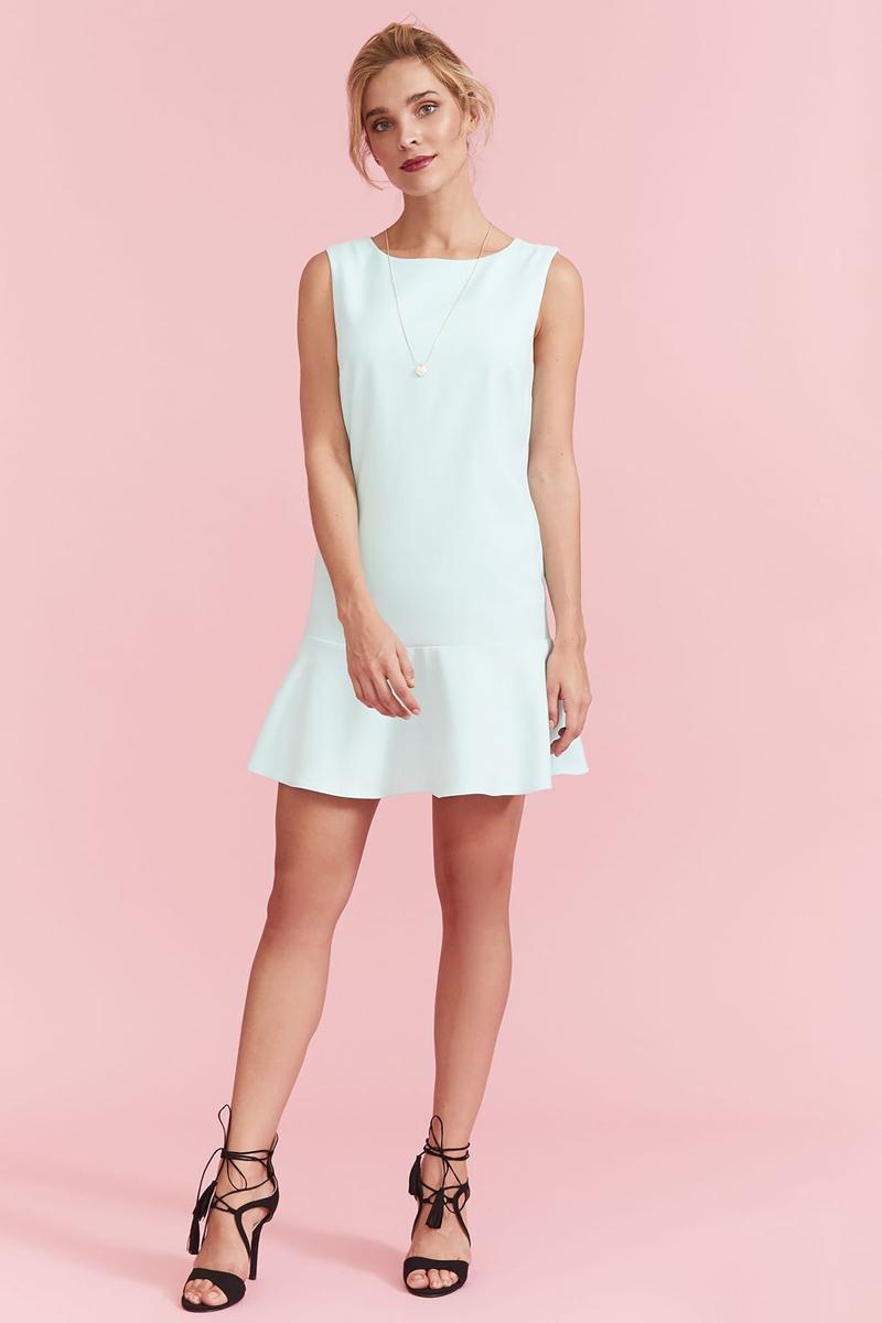 Платье Top Secret, цвет: мятный. SSU1897JZ. Размер 36 (44)SSU1897JZПлатье Top Secret изготовлено из полиэстера с добавлением вискозы и эластана. Модель с круглым вырезом горловины застегивается по спинке на молнию. Низ платья декорирован оборкой.
