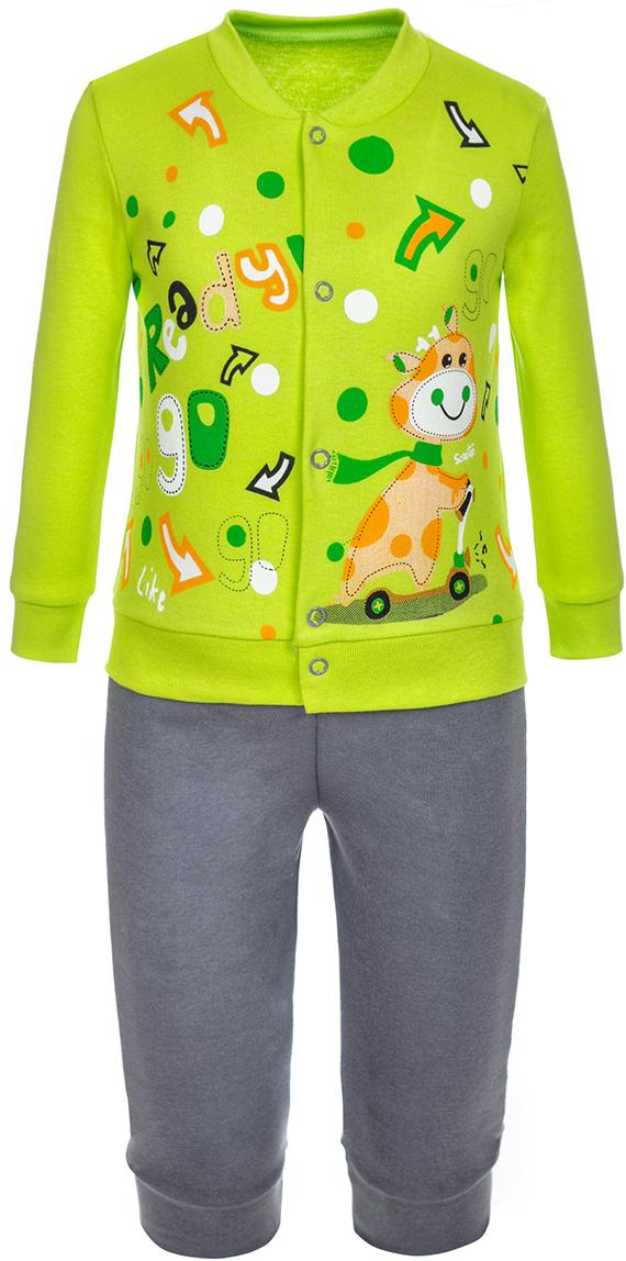 Комплект одежды детский M&D, цвет: салатовый. КМ14090214. Размер 74КМ14090214Комплект M&D подарит не только комфорт и уют, но и понравится ребенку благодаря своему веселому и приятному дизайну. Изготовленный из натурального хлопка, он тактильно приятный, хорошо пропускает воздух, а благодаря свободному крою не стесняет движений. Кофточка с длинными рукавами и круглым вырезом горловины застегивается на кнопки спереди. Штаны имеют широкую эластичную резинку, благодаря чему они не сдавливают животик ребенка и не сползают.