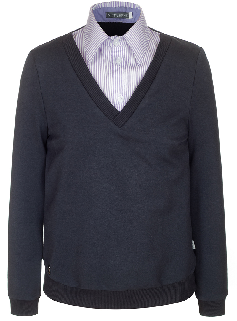 Джемпер для мальчика Nota Bene, цвет: серый. CJK17015B20. Размер 146CJK17015A20/CJK17015B20Джемпер для мальчика Nota Bene выполнен из хлопкового трикотажа. Модель 2-в-1 с длинными рукавами дополнена вставкой, имитирующей рубашку.