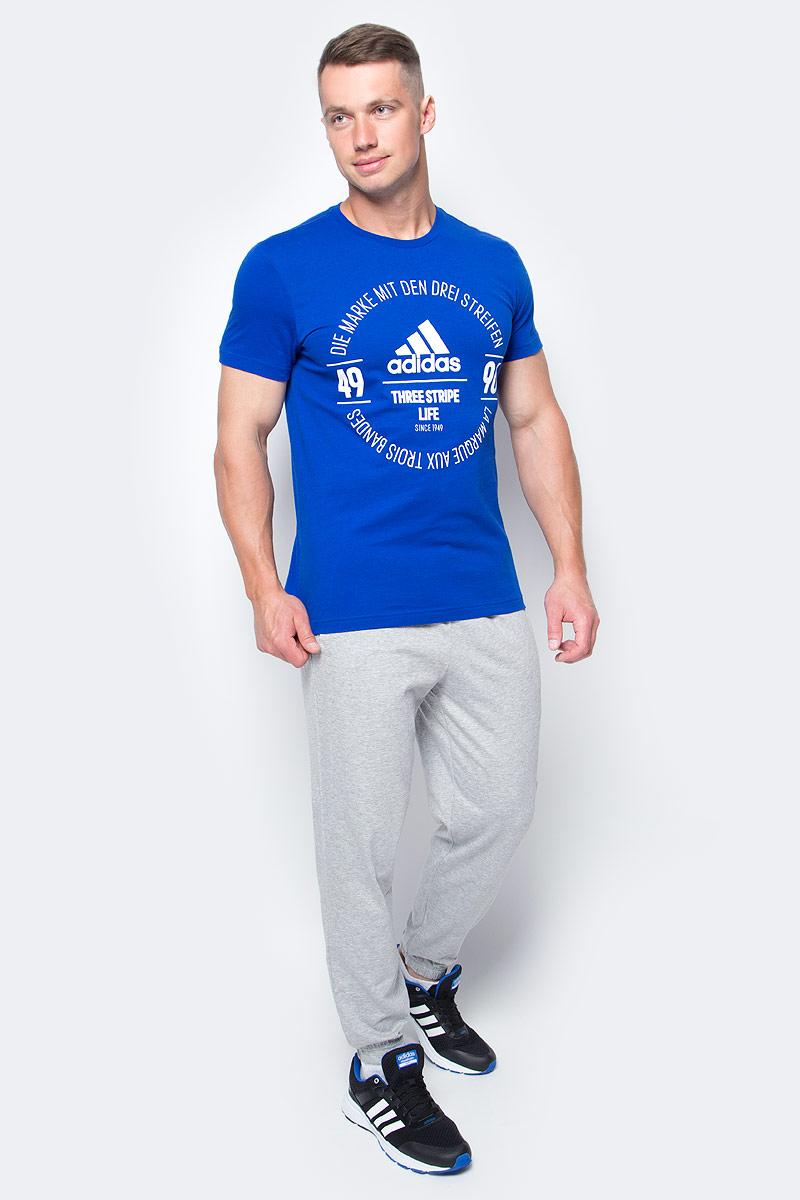 Футболка мужская adidas Logo Tee, цвет: синий. BK2803. Размер XL (56/58)BK2803Футболка мужская adidas Logo Tee выполнена из натурального хлопка. Модель с круглым вырезом горловины и короткими рукавами оформлена оригинальным принтом.