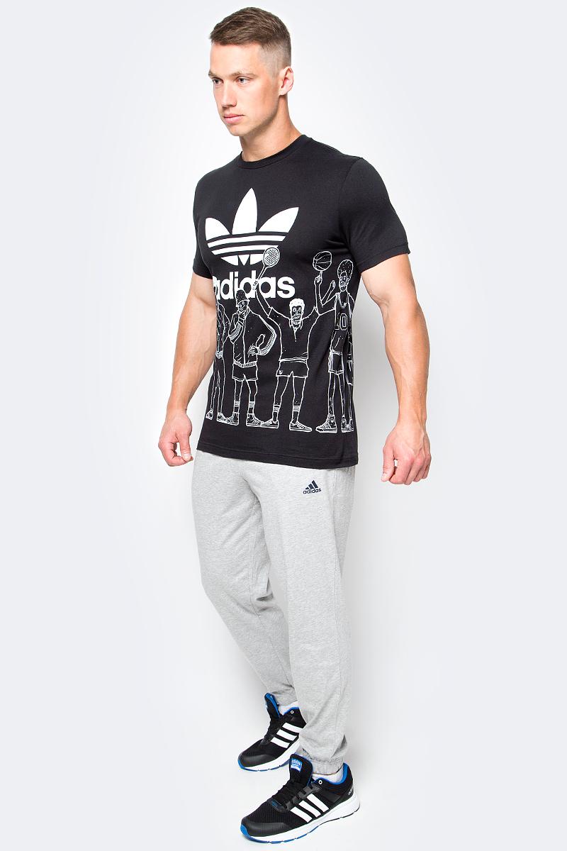 Футболка мужская adidas Trf Graphic T 2, цвет: черный. BQ3127. Размер S (44/46)BQ3127Футболка мужская adidas Trf Graphic T 2 выполнена из натурального хлопка. Модель с круглым вырезом горловины и короткими рукавами оформлена оригинальным принтом.