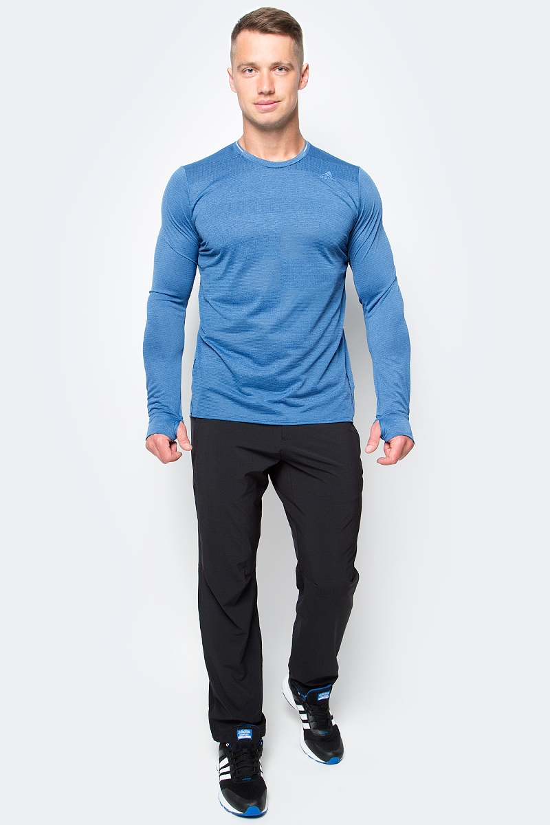 Лонгслив для бега мужской adidas Sn Ss Tee, цвет: светло-синий. S97992. Размер S (44/46)S97992Лонгслив Adidas Sn Ss Tee изготовлен специально для занятий спортом. Модель выполнена из полиэстера по технологии climawarm. У лонгслива круглый ворот и длинные рукава с прорезями для больших пальцев в манжетах. Модель дополнена светоотражающими полосами на спинке.