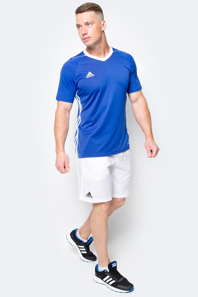Футболка мужская adidas Tiro 17 Jsy, цвет: голубой. BK5439. Размер M (48/50)BK5439Футболка мужская adidas Tiro 17 Jsy выполнена из 100% полиэстера. Модель с V-образным вырезом горловины и короткими рукавами оформлена оригинальным принтом.