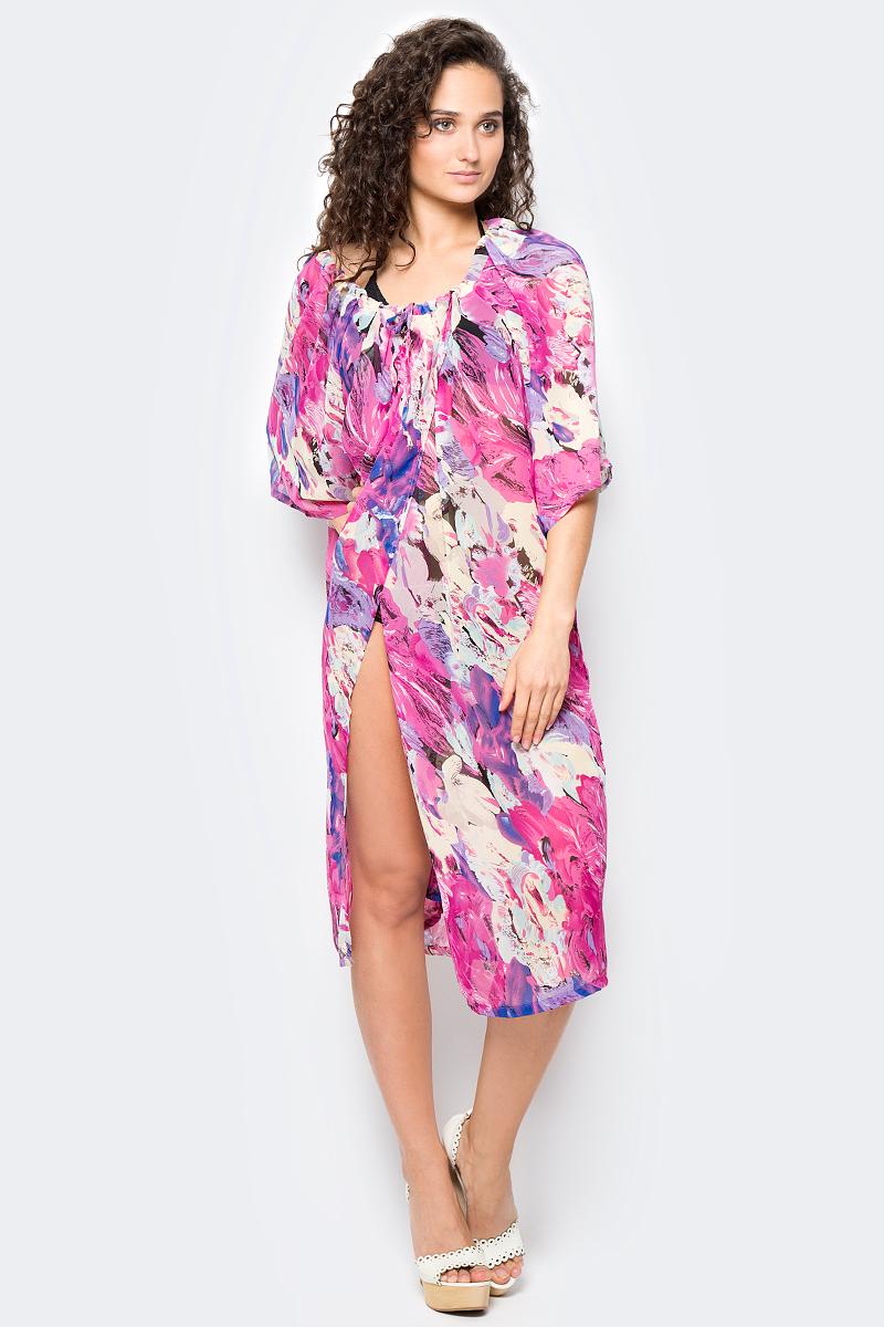 Сарафан женский Vittorio Richi, цвет: розовый. Ro03B1233-1. Размер M/XXXXL (44/60)Ro03B1233-1Длинное платье-туника с регулируемым запахом на груди. Свободный крой, широкие рукава и яркий принт. Идеально подходит для отдыха на пляже.