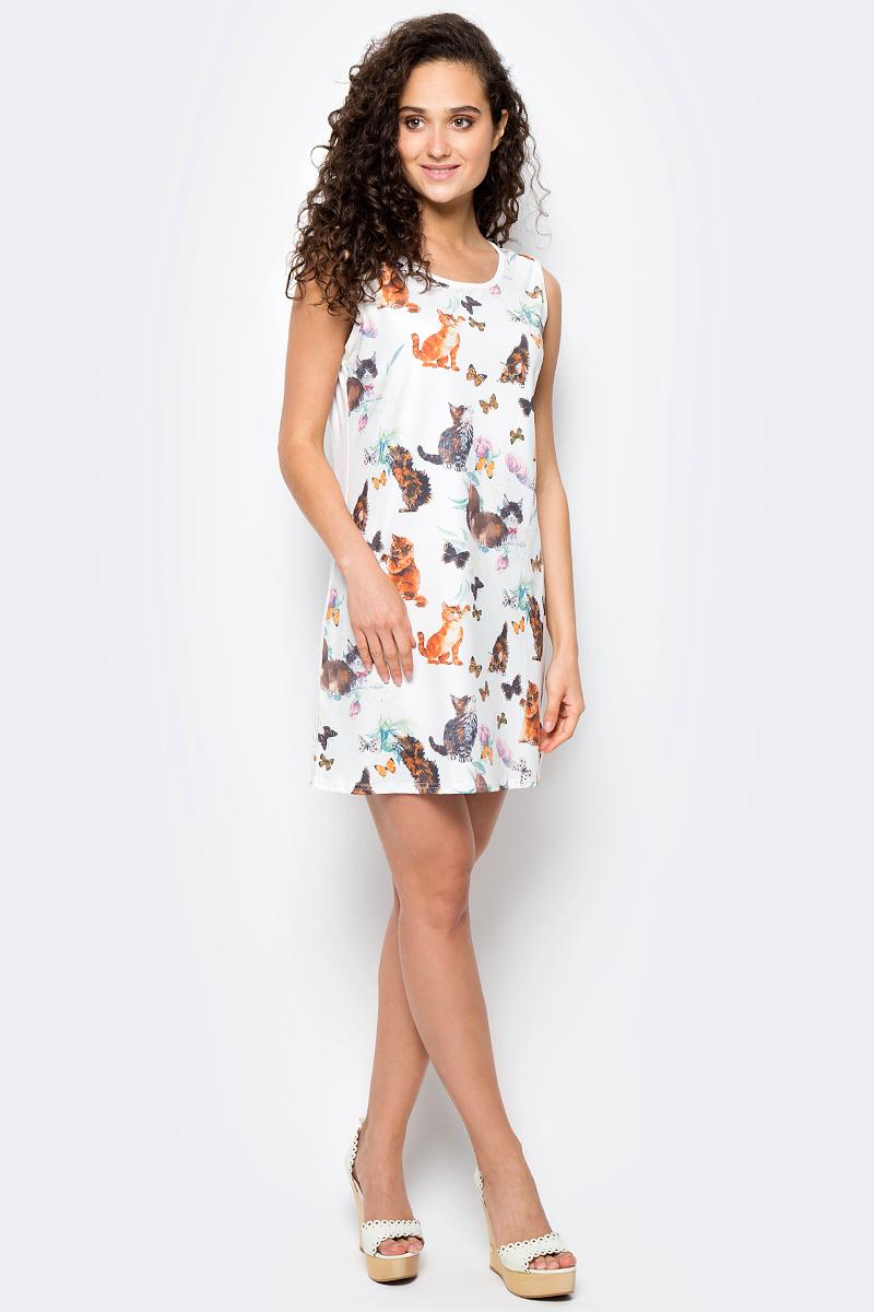 Сарафан женский Vitta Pelle, цвет: белый, оранжевый. Ro06B1251/L5752. Размер M (44/48)Ro06B1251/L5752Платье из трикотажного полотна с принтом.