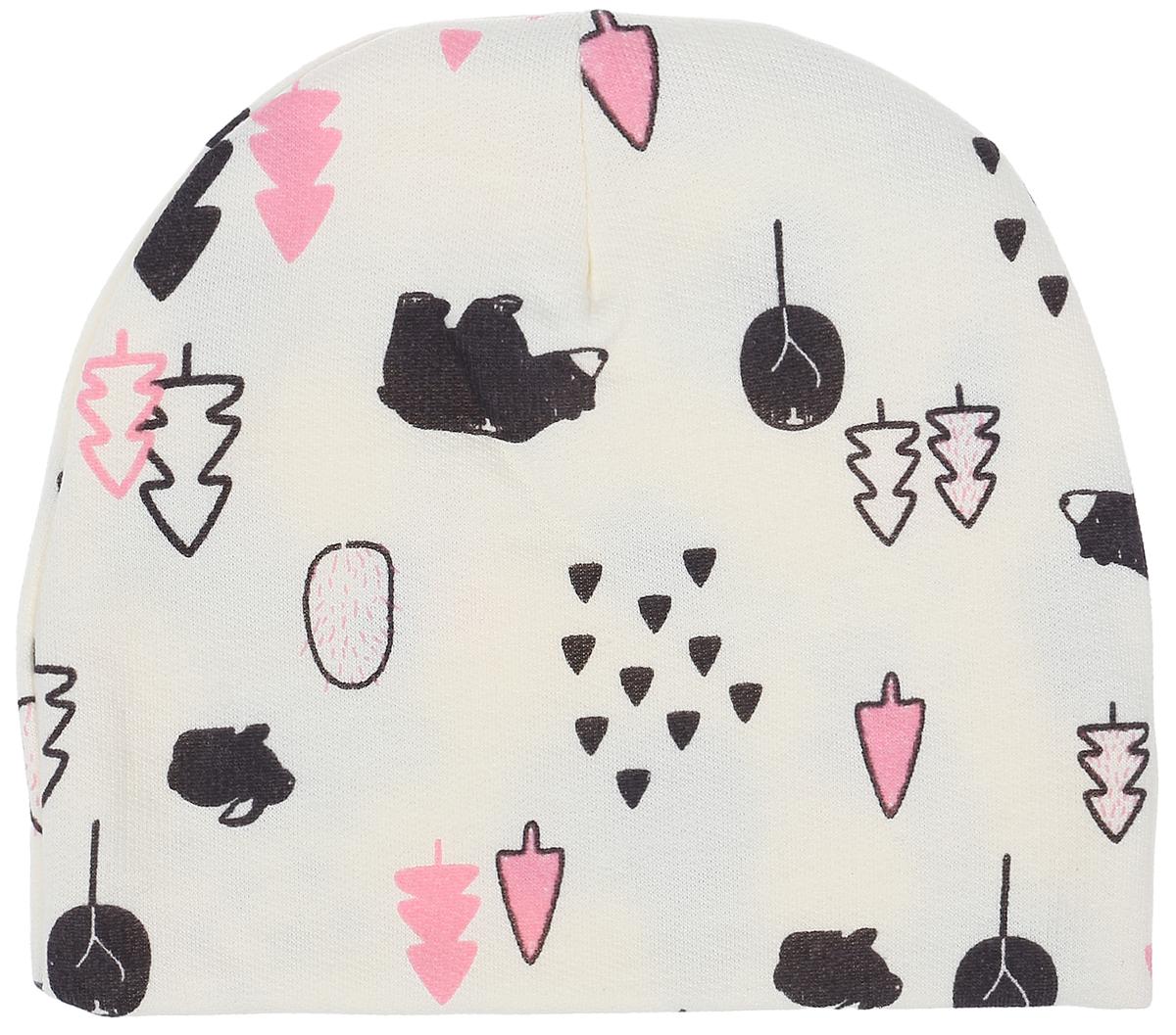 Шапочка для девочки КотМарКот, цвет: молочный, розовый. 8517. Размер 448517Комфортная шапочка КотМарКот изготовлена из натурального хлопка. Шапочка необходима любому младенцу, она защищает еще не заросший родничок, щадит чувствительный слух малыша, прикрывая ушки, а также предохраняет от теплопотери. Модель оформлена принтом.