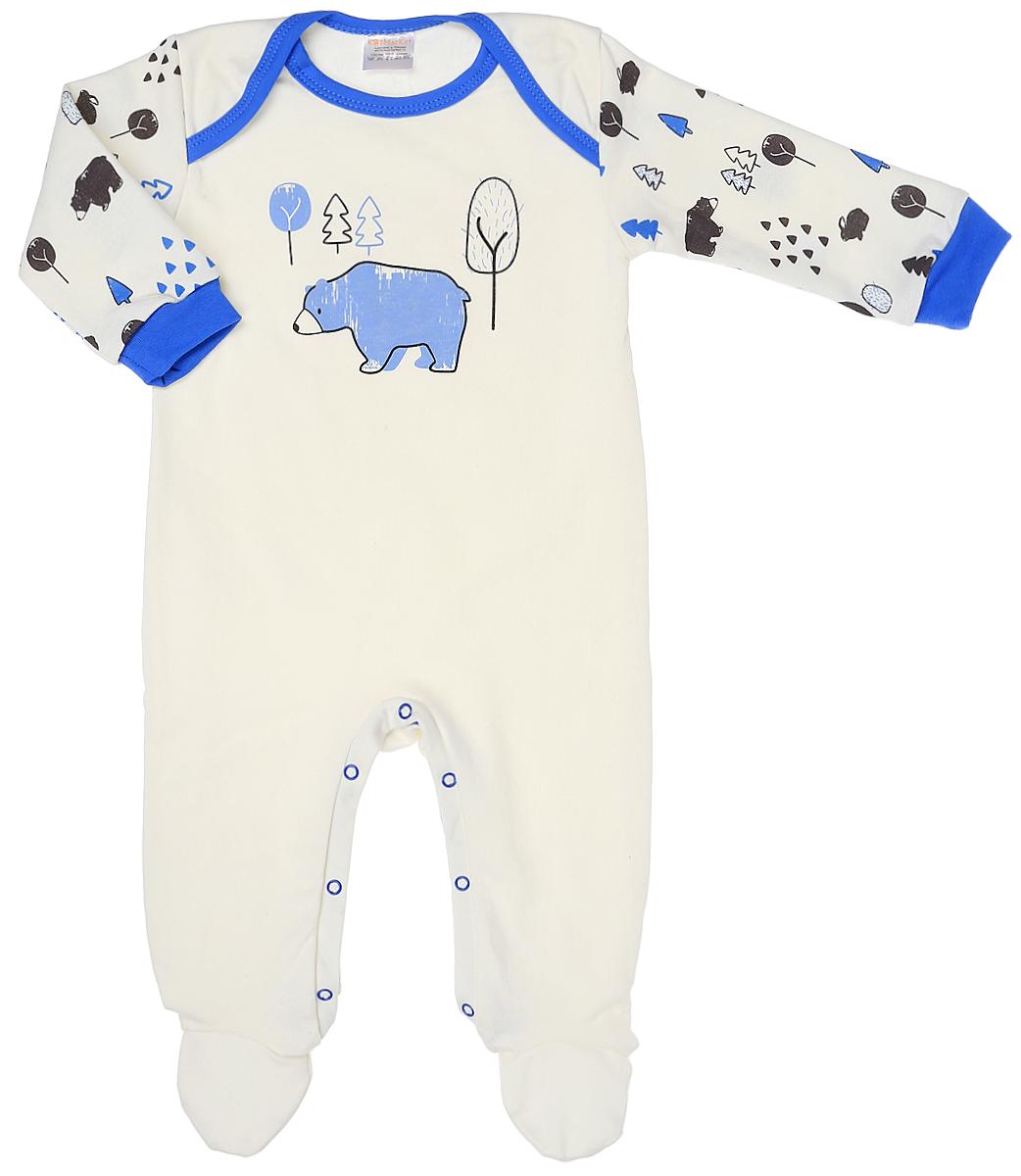 Комбинезон для мальчика КотМарКот, цвет: белый, голубой. 6518. Размер 566518Комбинезон для мальчика КотМарКот изготовлен из натурального хлопка. Материал изделия мягкий и тактильно приятный, не раздражает нежную и чувствительную кожу ребенка. Комбинезон с круглым вырезом горловины, длинными рукавами и закрытыми ножками имеет удобные запахи на плечах и застежки-кнопки на ластовице, которые помогают легко переодеть младенца или сменить подгузник. На рукавах предусмотрены мягкие манжеты. Модель оформлена принтом.