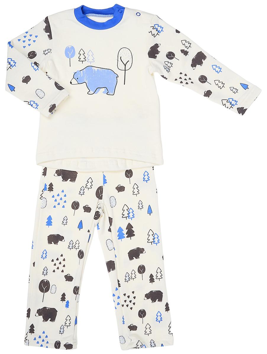 Пижама для мальчика КотМарКот, цвет: белый, голубой. 16818. Размер 92