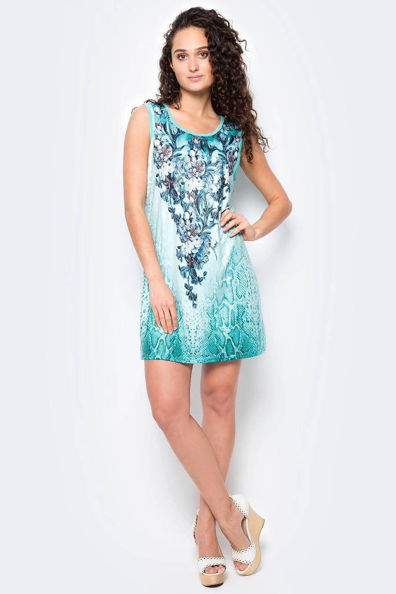 Сарафан женский Vitta Pelle, цвет: зеленый. Ro06B1251/L5307. Размер M (44/48)Ro06B1251/L5307Платье из трикотажного полотна с принтом.