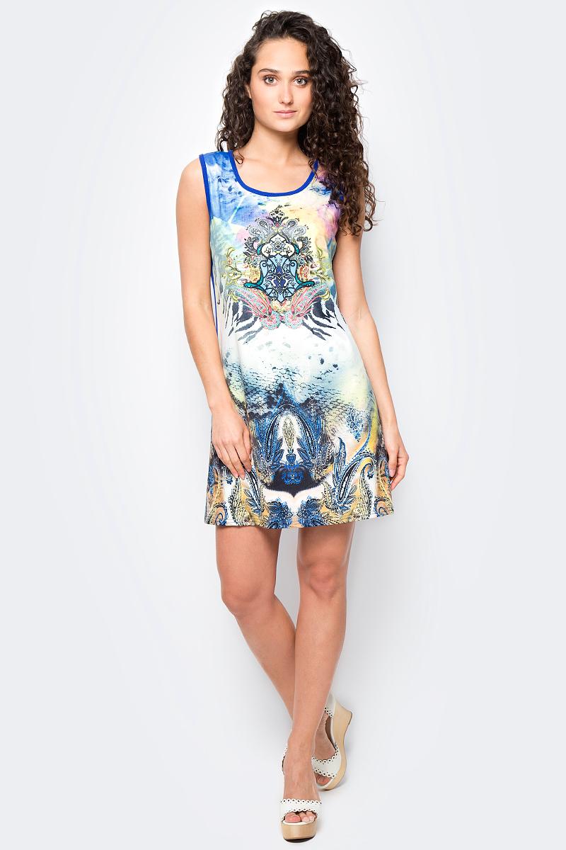 Сарафан женский Vitta Pelle, цвет: белый, синий. Ro06B1251/L5238. Размер M (44/48)Ro06B1251/L5238Платье из трикотажного полотна с принтом.