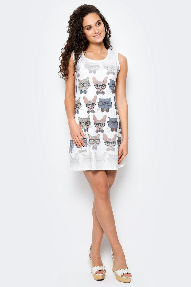 Сарафан женский Vitta Pelle, цвет: белый, серый. Ro06B1251/H1112. Размер M (44/48)Ro06B1251/H1112Платье из трикотажного полотна с принтом.