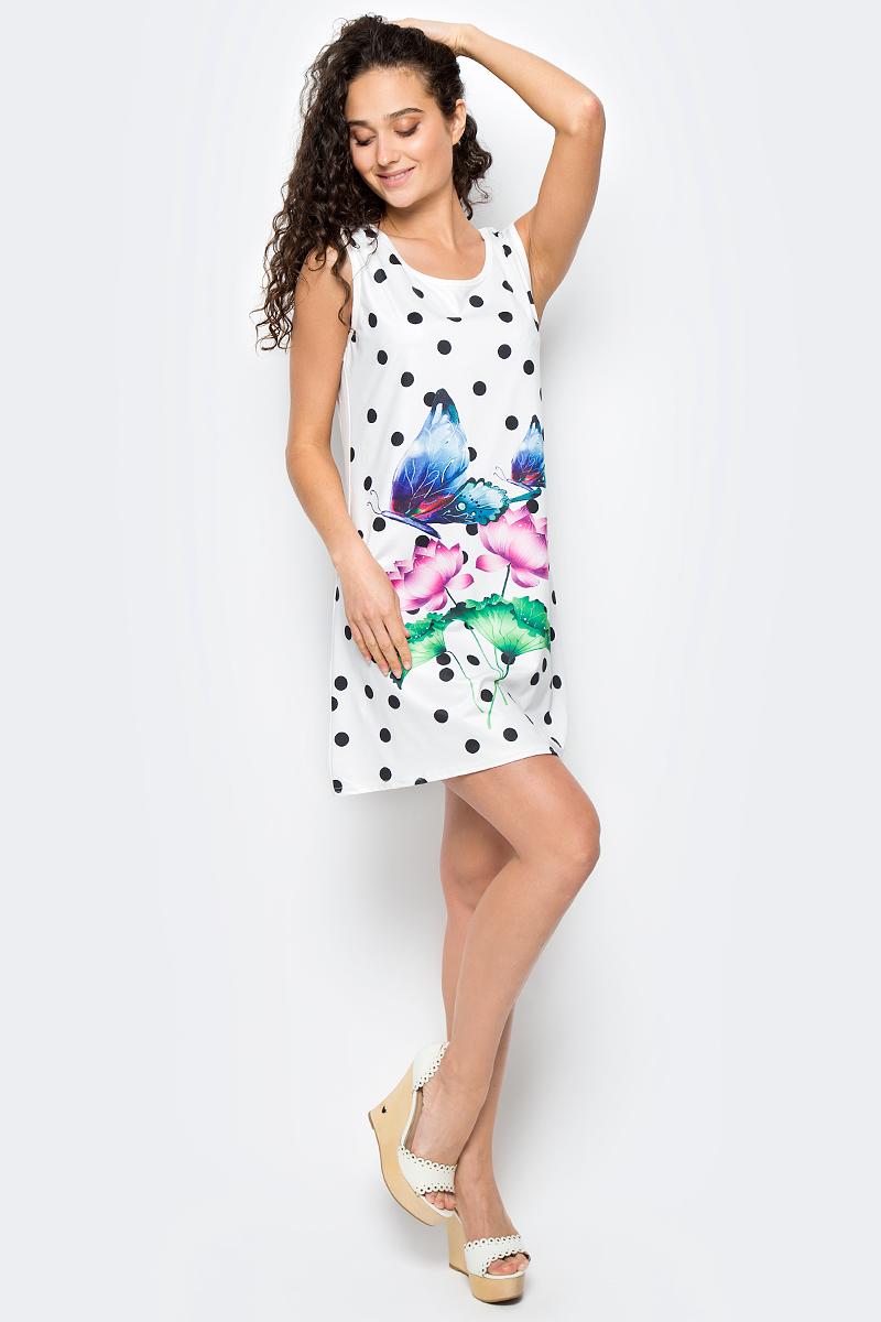 Сарафан женский Vittorio Richi, цвет: белый, синий. Ro06B1251/L5121. Размер M (44/48)Ro06B1251/L5121Платье из трикотажного полотна с принтом.
