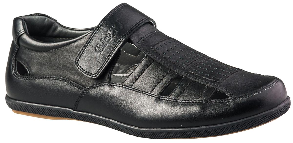 Туфли для мальчика BiKi, цвет: черный. A-B07-99-A. Размер 33A-B07-99-AСтильные и удобные туфли от BiKi не оставят равнодушным вашего мальчика! Модель изготовлена из искусственной и натуральной кожи. Ремешок с застежкой-липучкой надежно зафиксирует изделие на ноге. Подкладка и стелька из натуральной кожи не натирают, позволяют ногам дышать. Подошва с рифлением обеспечивает отличное сцепление с любой поверхностью. Комфортные туфли лаконичного дизайна идеально подойдут для повседневной носки и в качестве сменной обуви.