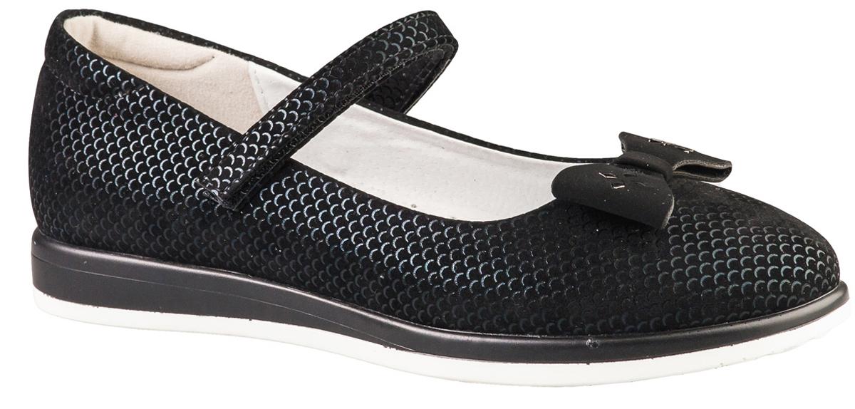 Туфли для девочки BiKi, цвет: черный. A-B22-63-A. Размер 34A-B22-63-AМодные туфли от фирмы BiKi понравятся вашей юной моднице с первого взгляда. Модель выполнена из искусственной кожи и оформлена на мысе бантиком. Ремешок на застежке-липучке надежно зафиксирует изделие. Подкладка и стелька, изготовленные из натуральной кожи, предотвратят натирание и гарантируют уют. Стелька дополнена супинатором, который обеспечивает правильное положение ноги ребенка при ходьбе, предотвращает плоскостопие. Стильные и удобные туфли - незаменимая вещь в гардеробе каждой школьницы.