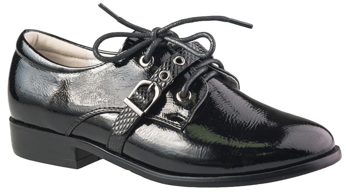 Туфли для девочки BiKi, цвет: черный. A-B22-73-A. Размер 34A-B22-73-AМодные туфли от фирмы BiKi понравятся вашей юной моднице с первого взгляда. Модель выполнена из искусственной кожи и оформлена на подъеме декоративным ремешком с металлической пряжкой. Классическая шнуровка надежно зафиксирует изделие. Подкладка и стелька, изготовленные из натуральной кожи, предотвратят натирание и гарантируют уют. Рифленая поверхность каблука и подошвы обеспечивает отличное сцепление с различными поверхностями. Стильные и удобные туфли - незаменимая вещь в гардеробе каждой девочки.