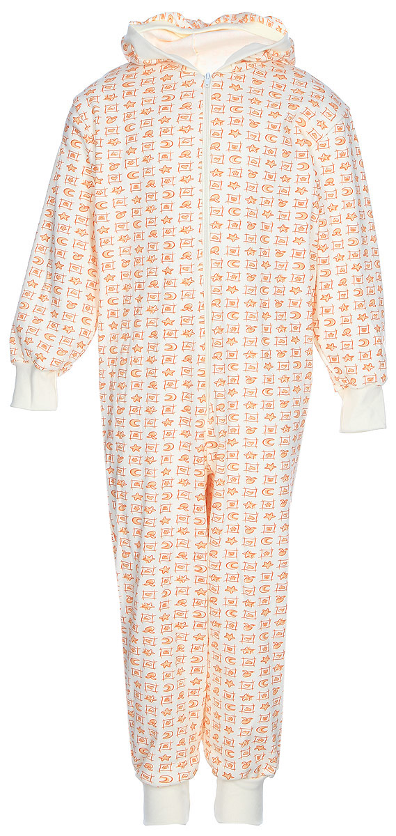 Пижама для девочки КотМарКот, цвет: оранжевый, светло-бежевый. 16925. Размер 110/11616925Удобная и комфортная пижама для девочки КотМарКот изготовлена из натурального хлопка. Материал мягкий и тактильно приятный. Модель в виде комбинезона с капюшоном и длинными рукавами застегивается на молнию. Рукава и брючины дополнены манжетами. Изделие оформлено принтом.