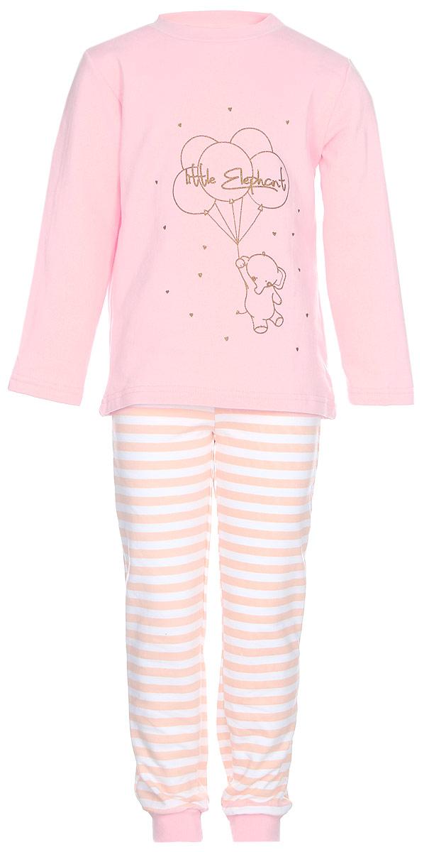 Пижама для девочки КотМарКот Слоненок, цвет: розовый. 16171. Размер 86, 1 год16171Пижама для девочки КотМарКот Слоненок, состоящая из футболки с длинным рукавом и брюк выполнена из натурального хлопка. Футболка с длинными рукавами и круглым вырезом горловины имеет застежки-кнопки по плечевому шву, что помогает с легкостью переодеть ребенка. Вырез горловины и манжеты на рукавах дополнены трикотажными эластичными резинками. Модель оформлена принтом с изображением слоника с шариками, а также надписями. Брюки на талии имеют эластичную резинку, благодаря чему они не сдавливают животик ребенка и не сползают. Низ брючин дополнен широкими трикотажными манжетами.