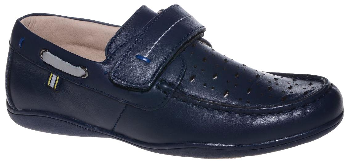 Мокасины для мальчика Счастливый ребенок, цвет: темно-синий. G2002BLUE. Размер 36G2002_BLUEМокасины для мальчика Счастливый ребенок, выполненные из высококачественной искусственной кожи с перфорацией, на мысе оформлены декоративным внешним швом, свойственным для этого типа обуви. На подъеме модель фиксируется при помощи ремешка на липучке. Внутренний материал и стелька выполнены из натуральной кожи, что позволяет ногам дышать и обеспечивает дополнительный комфорт. Подошва, выполненная из ТЭП-материала, долговечна.