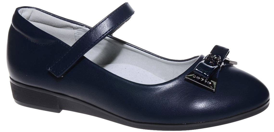 Туфли для девочки Счастливый ребенок, цвет: темно-синий. MX7555-2. Размер 34MX7555-2Туфли для девочки Счастливый ребенок выполнены из высококачественной искусственной кожи. На подъеме модель фиксируется при помощи ремешка на липучке. Туфли на невысокой танкетке на мыске декорированы очаровательным бантиком. Внутренний материал и стелька выполнены из натуральной кожи, что позволяет ногам дышать и обеспечивает дополнительный комфорт. Подошва, выполненная из ТЭП-материала, долговечна.