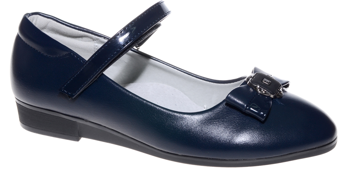 Туфли для девочки Счастливый ребенок, цвет: темно-синий. MX7562-2. Размер 34MX7562-2Туфли для девочки Счастливый ребенок выполнены из высококачественной искусственной кожи. На подъеме модель фиксируется при помощи ремешка на липучке. Туфли на невысокой танкетке на мыске декорированы очаровательным бантиком. Внутренний материал и стелька выполнены из натуральной кожи, что позволяет ногам дышать и обеспечивает дополнительный комфорт. Подошва, выполненная из ТЭП-материала, долговечна.