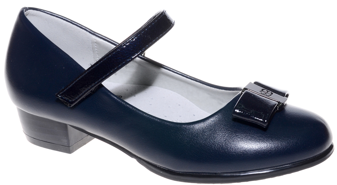 Туфли для девочки Счастливый ребенок, цвет: темно-синий. MX7575-2. Размер 35MX7575-2Туфли для девочки Счастливый ребенок выполнены из высококачественной искусственной кожи. На подъеме модель фиксируется при помощи ремешка на липучке. Туфли на невысоком квадратном каблуке на мыске декорированы очаровательным бантиком. Внутренний материал и стелька выполнены из натуральной кожи, что позволяет ногам дышать и обеспечивает дополнительный комфорт. Подошва, выполненная из ТЭП-материала, долговечна.