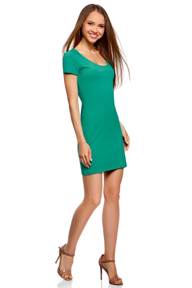Платье oodji Ultra, цвет: зеленый. 14001182B/47420/6D00N. Размер XXL (52)14001182B/47420/6D00NОблегающее платье oodji Ultra выполнено из качественного трикотажа. Модель мини-длины с круглым вырезом горловиныи короткими рукавами выгодно подчеркивает достоинства фигуры.