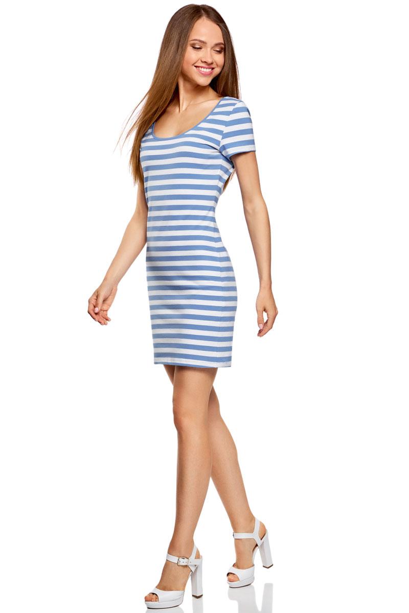 Платье oodji Ultra, цвет: белый, голубой. 14001182B/47420/8010S. Размер XS (42)14001182B/47420/8010SОблегающее платье oodji Ultra выполнено из качественного трикотажа. Модель мини-длины с круглым вырезом горловиныи короткими рукавами выгодно подчеркивает достоинства фигуры.