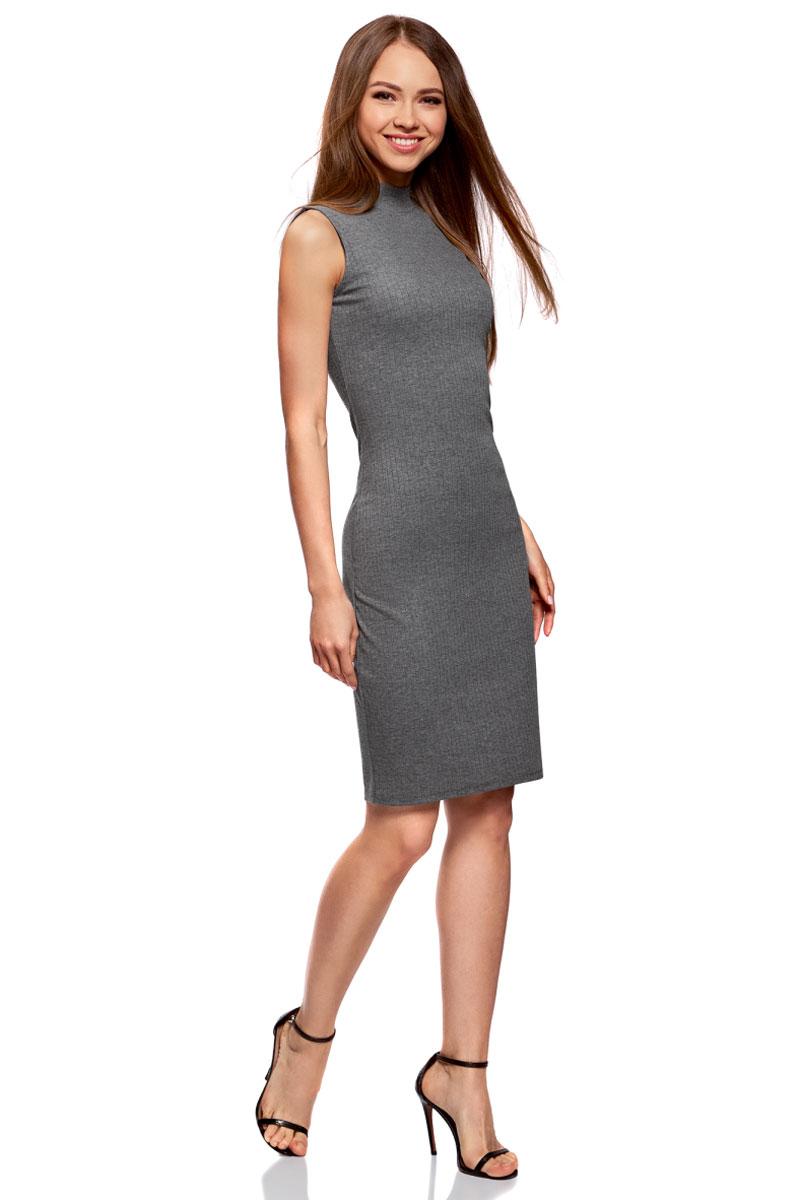 Платье oodji Ultra, цвет: серый. 14005138/46464/2500M. Размер XL (50)14005138/46464/2500MОблегающее платье oodji изготовлено из качественного смесового материала. Модель-миди выполнена без рукавов и с воротником-стойкой.