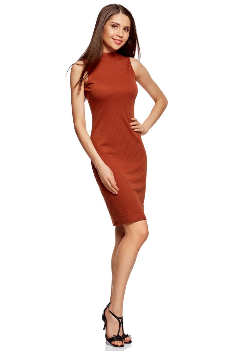 Платье oodji Ultra, цвет: красный. 14005138/46464/3100N. Размер XXS (40)14005138/46464/3100NОблегающее платье oodji изготовлено из качественного смесового материала. Модель-миди выполнена без рукавов и с воротником-стойкой.