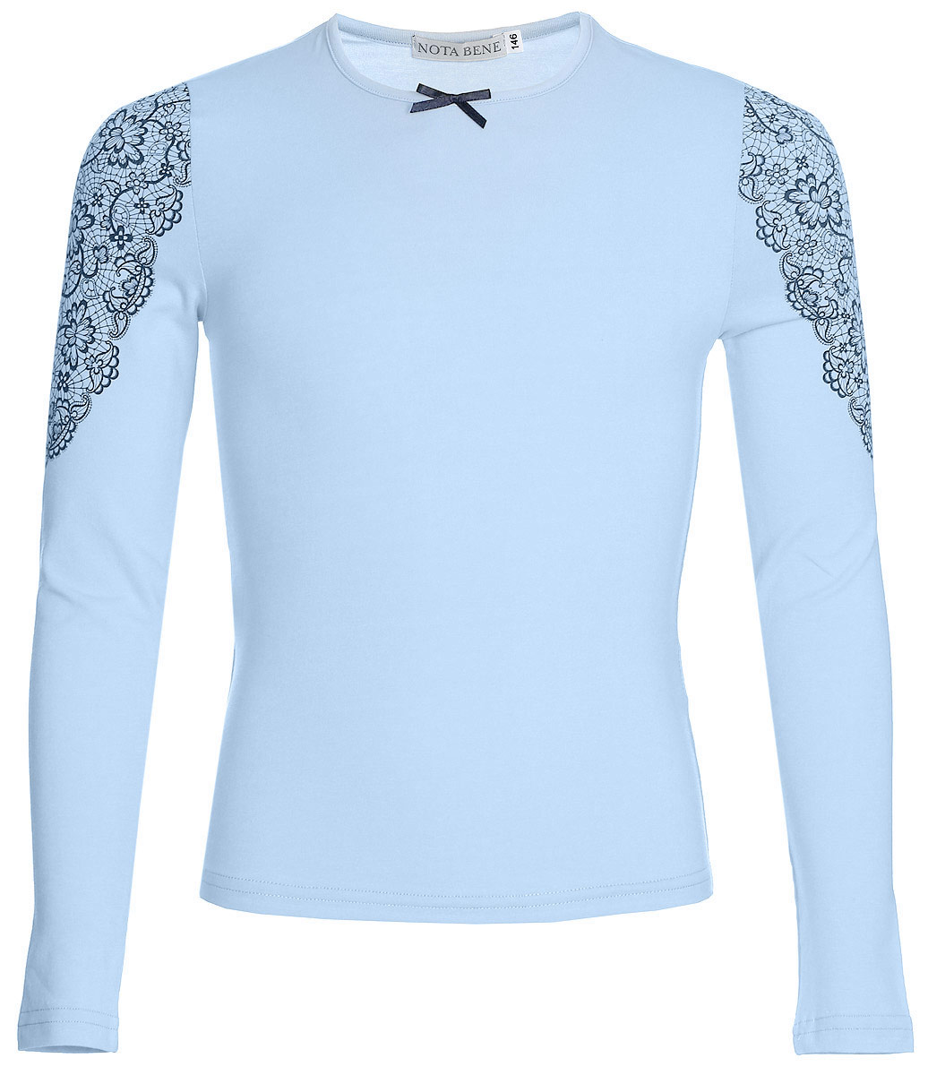 Блузка для девочки Nota Bene, цвет: голубой. CJR27033B10. Размер 146CJR27033A10/CJR27033B10Блузка для девочки Nota Bene выполнена из хлопкового трикотажа с кружевной отделкой. Модель с длинными рукавами и круглым вырезом горловины.