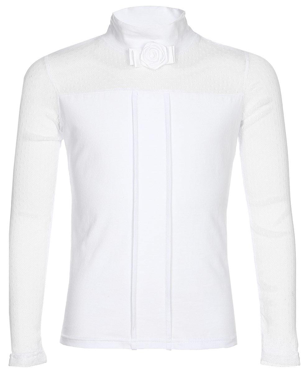 Блузка для девочки Nota Bene, цвет: белый. CJR27049A01. Размер 134CJR27049A01/CJR27049B01Блузка для девочки Nota Bene выполнена из хлопкового трикотажа в сочетании с гипюром. Модель с длинными рукавами и воротником-стойкой.