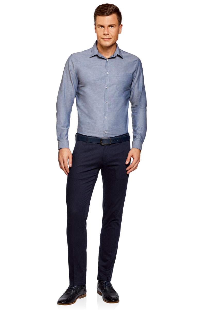 Рубашка мужская oodji Basic, цвет: синий. 3B110007M/34714N/7500O. Размер 41-182 (50-182)3B110007M/34714N/7500OМужская рубашка oodji, выполненная из натурального хлопка, застегивается на пуговицы. Модель приталенного силуэта с длинными рукавами, закругленным низом и отложным воротничком баттен-даун имеет слева на груди карман. Воротник с пуговицами на углах придает рубашке элегантности. Натуральный хлопок приятен на ощупь, не раздражает кожу, дышит.