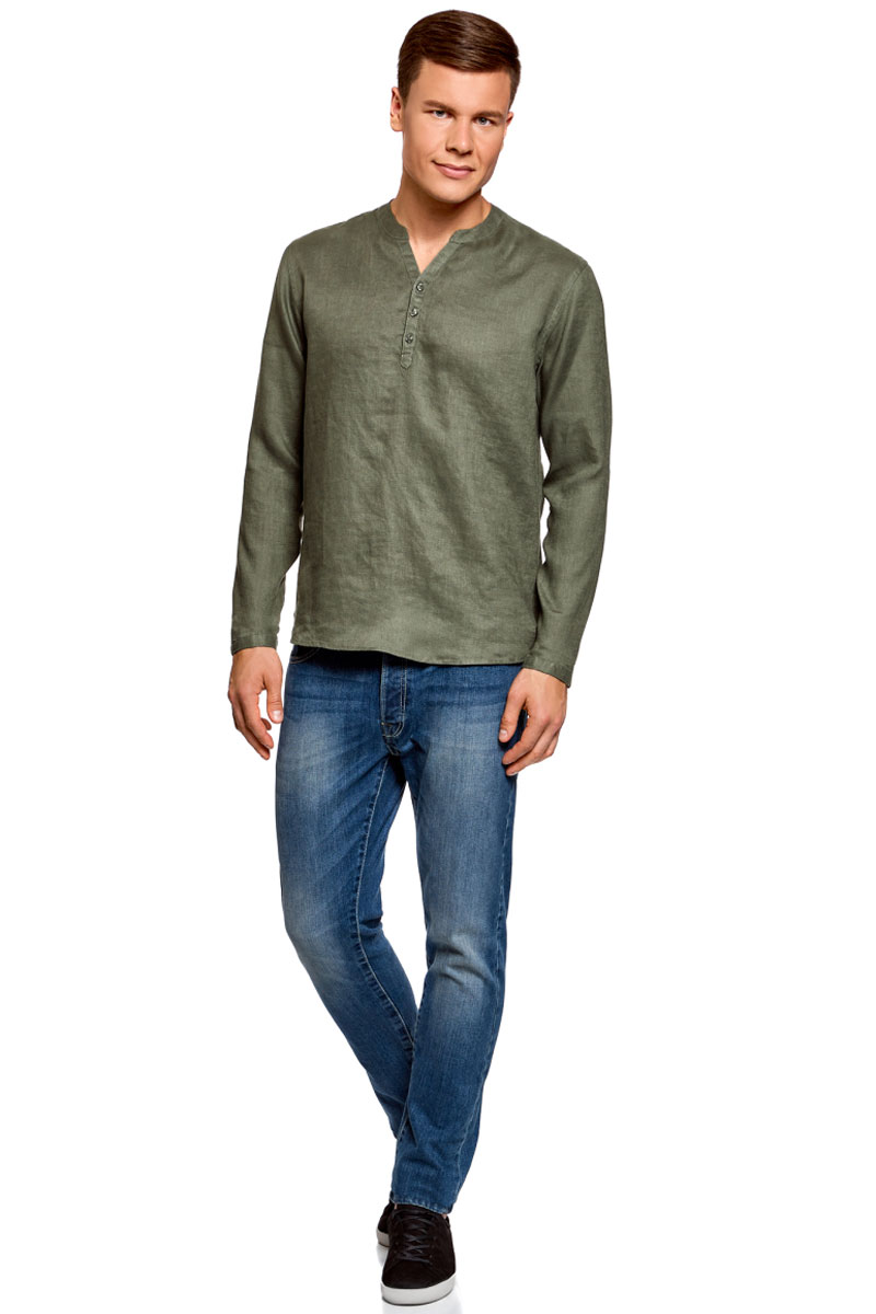 Рубашка мужская oodji Basic, цвет: зеленый. 3B320002M/21155N/6600N. Размер XXL (58/60)3B320002M/21155N/6600NМужская рубашка от oodji выполнена из натурального льна. Модель без воротника с длинными рукавами на груди застегивается на пуговицы. Лен идеально подходит для теплой погоды. Он пропускает воздух, не вызывает аллергии, не выцветает на солнце. Льняные вещи просто приятно носить в жаркие дни.