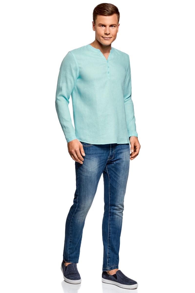 Рубашка мужская oodji Basic, цвет: бирюзово-голубой. 3B320002M/21155N/7301N. Размер S (46/48)3B320002M/21155N/7301NМужская рубашка от oodji выполнена из натурального льна. Модель без воротника с длинными рукавами на груди застегивается на пуговицы. Лен идеально подходит для теплой погоды. Он пропускает воздух, не вызывает аллергии, не выцветает на солнце. Льняные вещи просто приятно носить в жаркие дни.