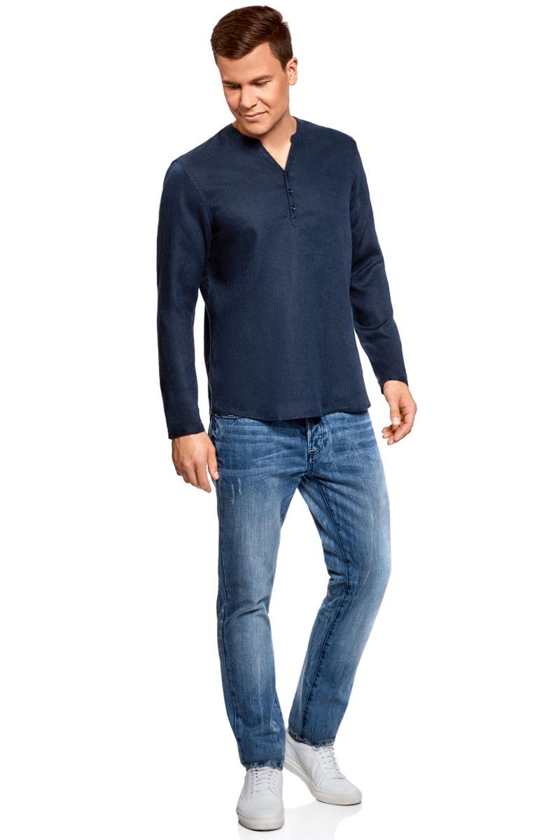 Рубашка мужская oodji Basic, цвет: темно-синий. 3B320002M/21155N/7900N. Размер M (50)3B320002M/21155N/7900NМужская рубашка от oodji выполнена из натурального льна. Модель без воротника с длинными рукавами на груди застегивается на пуговицы. Лен идеально подходит для теплой погоды. Он пропускает воздух, не вызывает аллергии, не выцветает на солнце. Льняные вещи просто приятно носить в жаркие дни.