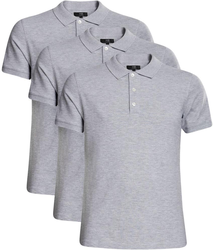 Поло мужское oodji Basic, цвет: серый, 3 шт. 5B422001T3/44032N/2300M. Размер M (50)5B422001T3/44032N/2300MБазовое поло от oodji выполнено из ткани пике. Комплект из трех одинаковых футболок-поло – это практичное решение для мужского гардероба: не нужно ждать, когда ваша любимая футболка будет постирана и выглажена, ведь у вас есть еще точно такие же. У этой модели классический отложной воротничок и застежка на пуговицы. Поло прямого силуэта, правильной длины до середины бедра. Футболка-поло – это универсальный вариант для повседневной одежды. Она хорошо сочетается с джинсами, шортами и брюками разного фасона и длины. Если на работе действует строгий дресс-код, футболку поло можно надеть вместо рубашки. С ней всегда получится создать элегантный образ на все случаи жизни: на работу, учебу, свидание, прогулку с друзьями или вечеринку в загородном клубе.Выбор обуви зависит от подобранного низа. С джинсами или бриджами хорошо сочетаются кеды и кроссовки, а с брюками – легкие летние туфли.