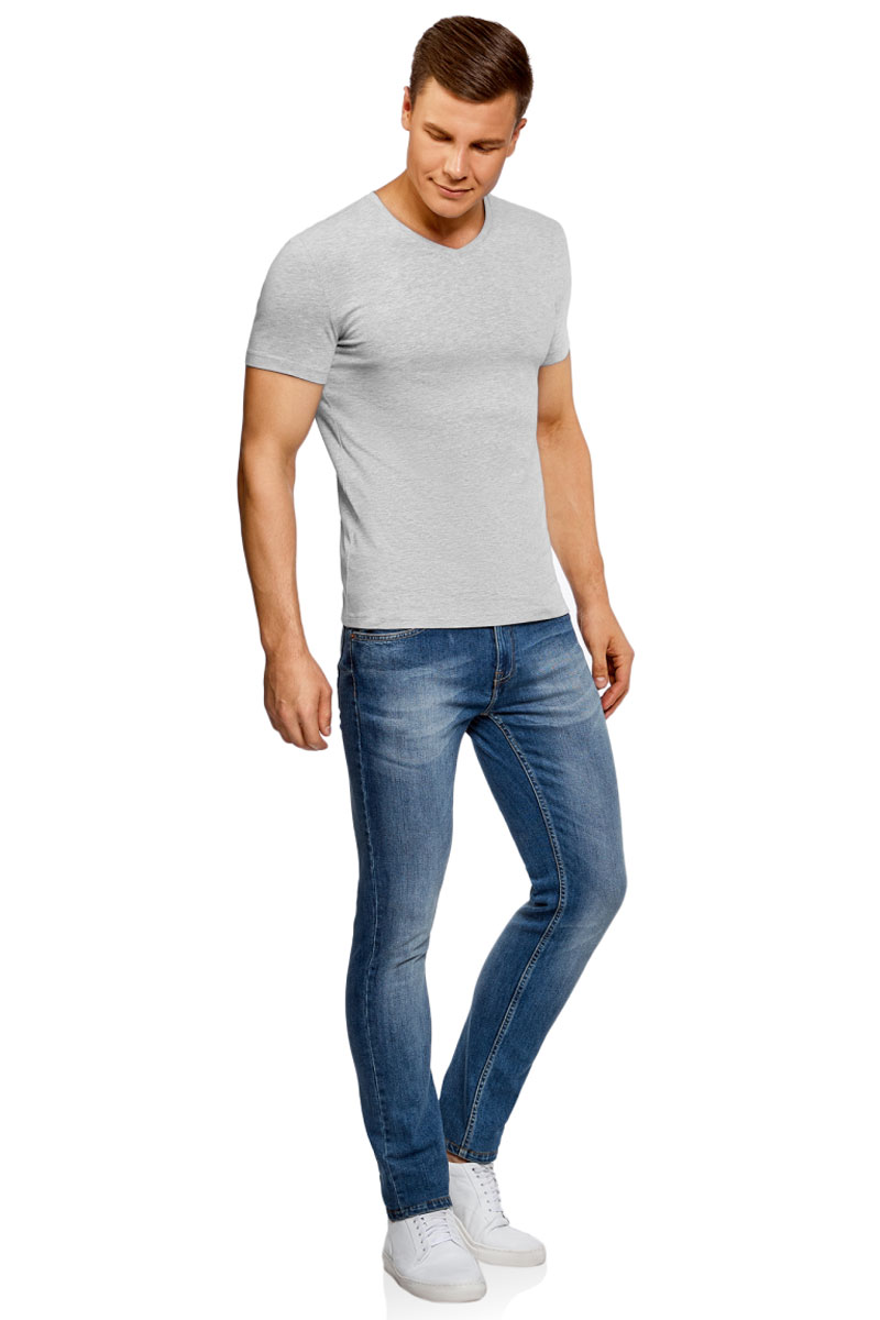 Футболка мужская oodji Basic, цвет: серый. 5B612002M/46737N/2300M. Размер XXL (58/60)5B612002M/46737N/2300MБазовая футболка с V-образным вырезом горловины и короткими рукавами выполнена из эластичного хлопка.