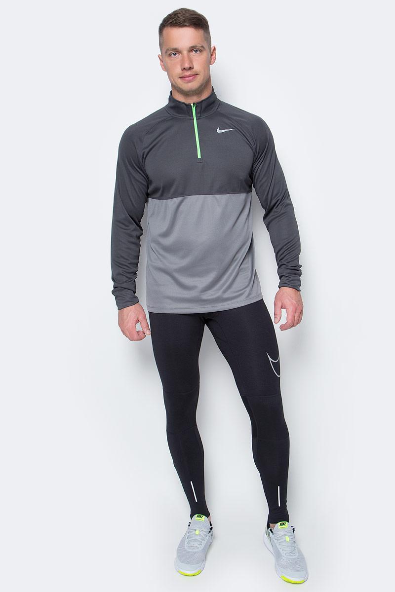 Лонгслив мужской Nike Racer 1/2 Zip Top, цвет: темно-серый, серый. 648588-062. Размер XL (52/54)648588-062Лонгслив от Nike выполнен из полиэстера. Модель с воротником-стойкой и длинными рукавами застегивается на застежку-молнию.