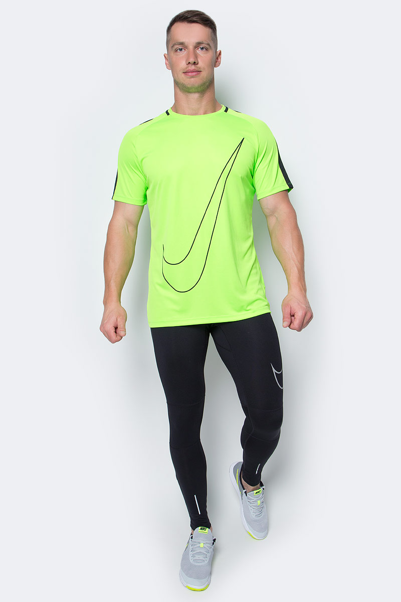 Футболка мужская Nike Nk Dry Top SS Acdmy Gx, цвет: салатовый. 832985-336. Размер M (46/48)832985-336Мужская футболка Nk Dry Top SS Acdmy Gx от Nike изготовлена из ультрамягкой ткани Dri-Fit. Ткань Dri-Fit обеспечивает воздухопроницаемость и комфорт. Модель с круглым вырезом горловины и короткими рукавами-реглан оформлена фирменным логотипом. По бокам предусмотрены сетчатые вставки для усиления вентиляции. Плоские швы исключают натирание кожи.