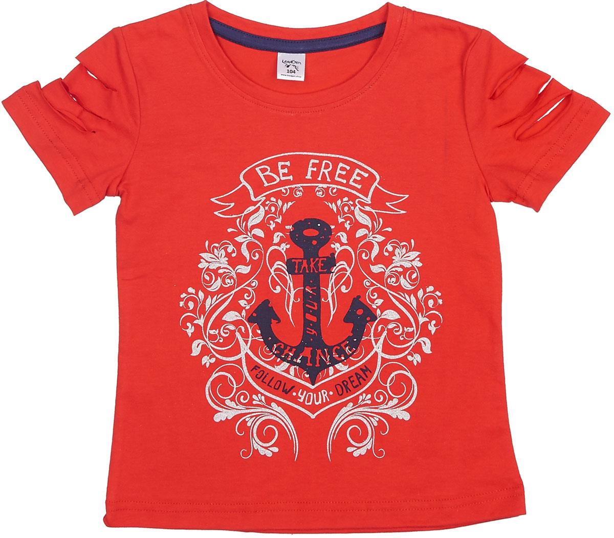 Футболка для девочки LeadGen, цвет: красный. G413019007-171. Размер 140G413019007-171Футболка для девочки LeadGen выполнена из натурального хлопкового трикотажа. Модель с короткими рукавами и круглым вырезом горловины спереди оформлена принтом.