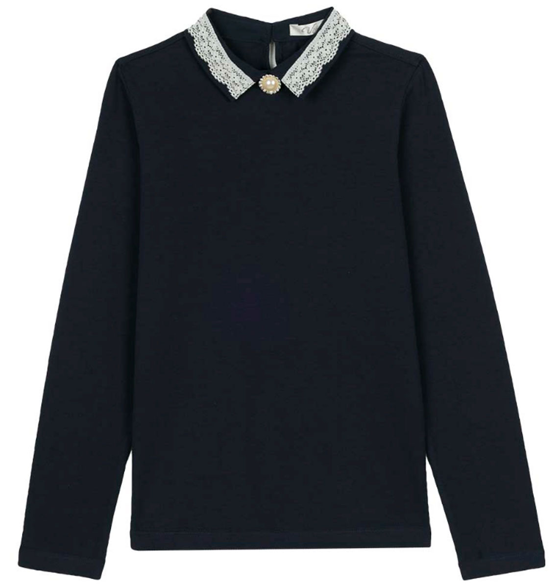 Блузка для девочки Vitacci, цвет: синий. 2173204-04. Размер 1342173204-04Школьная блузка для девочки от Vitacci выполнена из эластичного хлопкового трикотажа. Модель с длинными рукавами и отложным ажурным воротничком на спинке застегивается на пуговицы.