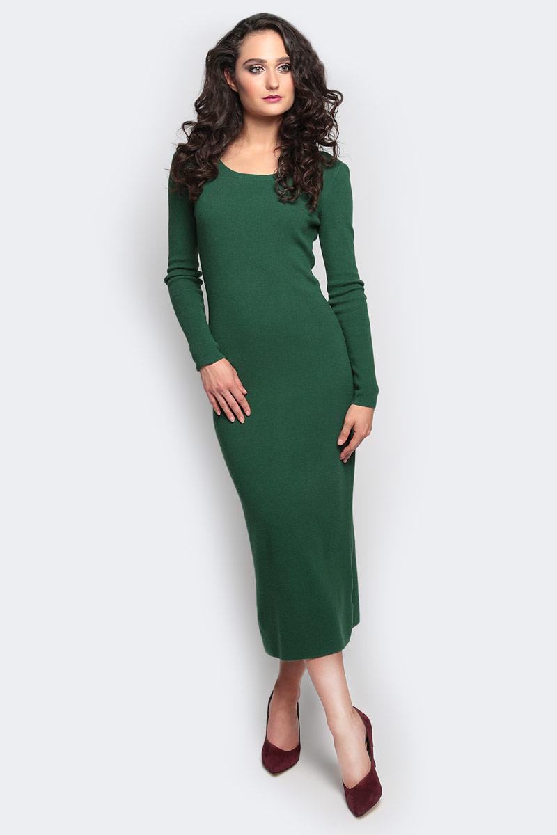 Платье Vittoria Vicci, цвет: зеленый. VV16- 111. Размер S/M (44)VV16-111Платье Vittoria Vicci выполнено из хлопка с добавлением вискозы, полиамида и эластана. Вязаная удлиненная модель с длинными рукавами имеет круглый вырез горловины. Платье застегивается на металлическую застежку-молнию на спинке и имеет неглубокий разрез по низу сзади.