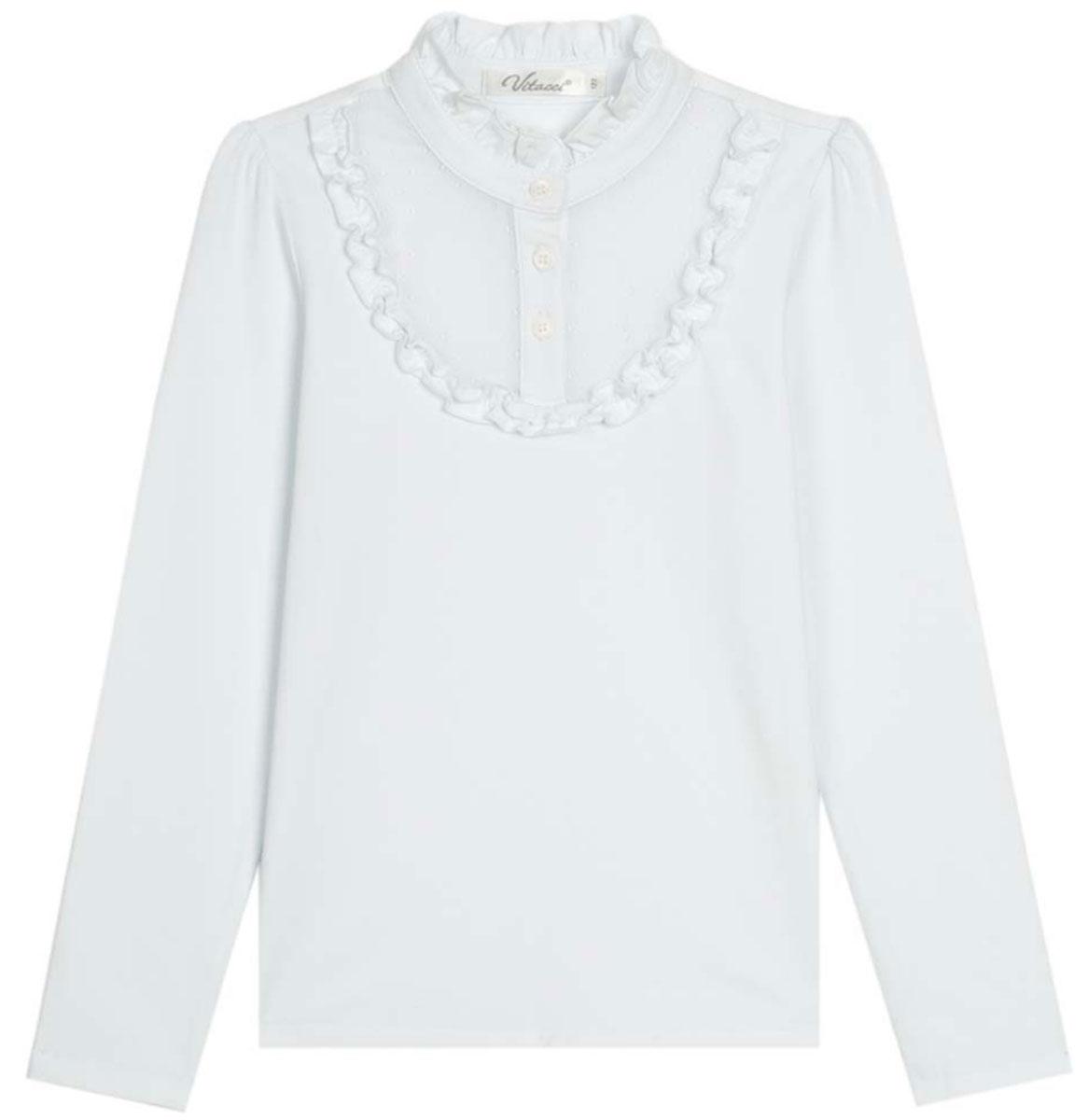 Джемпер для девочек Vitacci, цвет: белый. 2173000-01. Размер 1222173000-01Школьная блузка для девочки из трикотажа