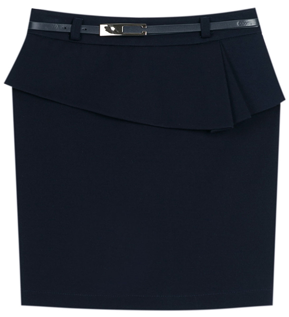 Юбка для девочки Vitacci, цвет: синий. 2173043L-04. Размер 1522173043L-04Стильная юбка для девочки от Vitacci выполнена из вискозы и нейлона с добавлением эластана. Модель дополнена ремешком и баской, застегивается на молнию.