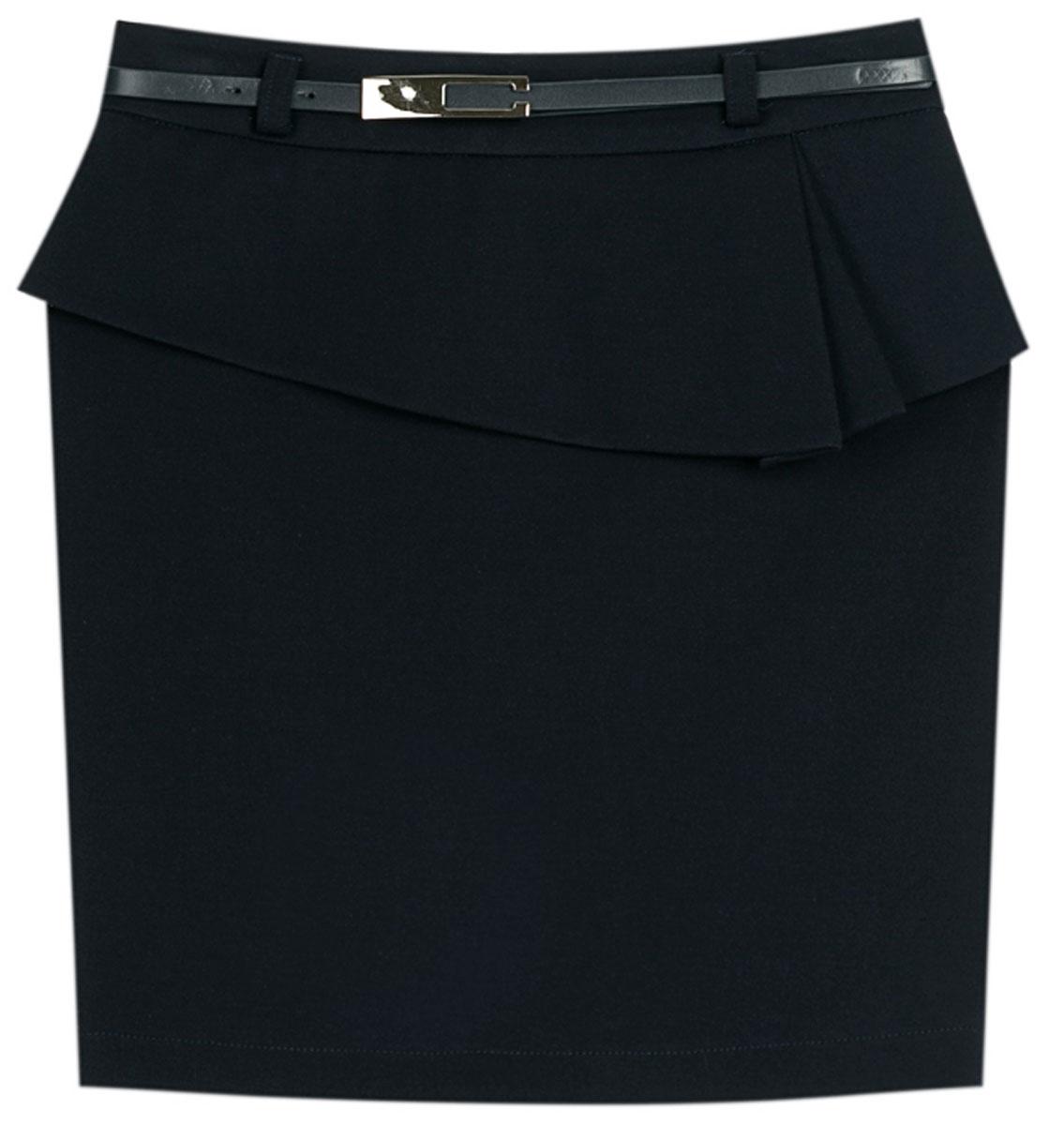 Юбка для девочки Vitacci, цвет: черный. 2173043L-03. Размер 1342173043L-03Стильная юбка для девочки от Vitacci выполнена из вискозы и нейлона с добавлением эластана. Модель дополнена ремешком и баской, застегивается на молнию.