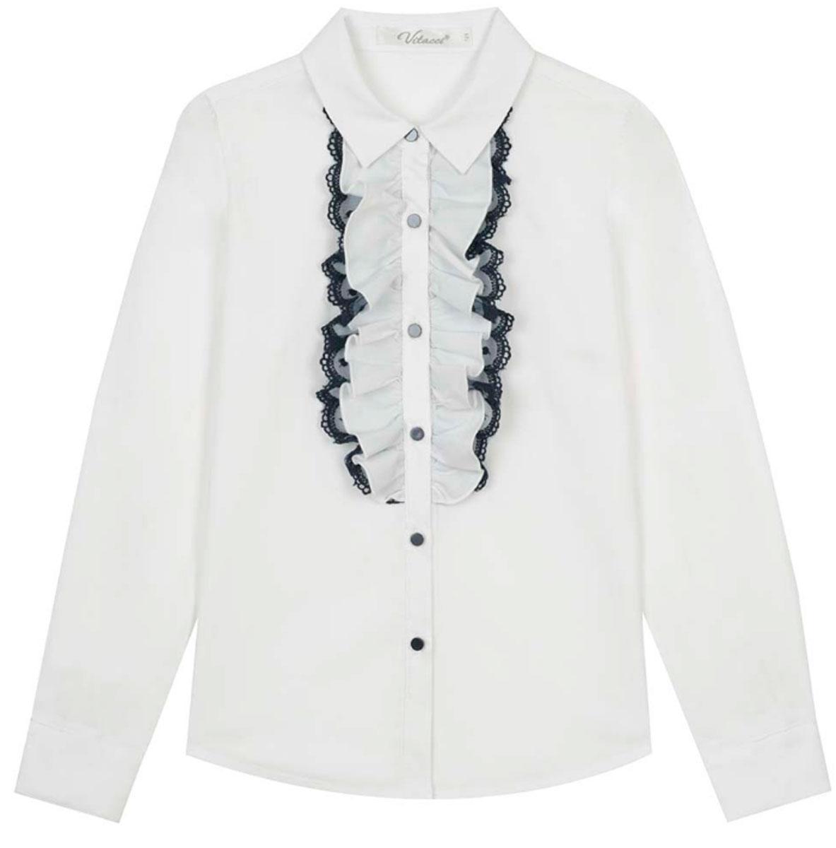 Блузка для девочки Vitacci, цвет: белый. 2173217-01. Размер 1402173217-01Школьная блузка для девочки от Vitacci выполнена из хлопкового материала. Модель с длинными рукавами и отложным воротничком застегивается на пуговицы. На полочке блузка декорирована жабо.