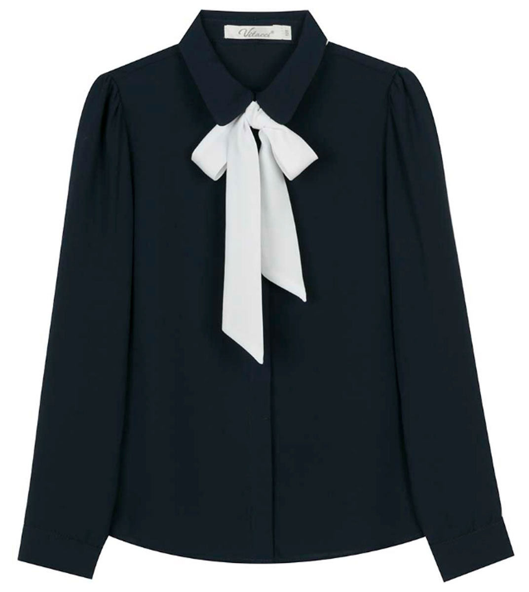 Блузка для девочки Vitacci, цвет: синий. 2173224L-04. Размер 1342173224L-04Шифоновая блузка для девочки Vitacci выполнена из 100% полиэстера. Модель имеет длинные рукава и отложной воротник, украшенный контрастным бантом. Застегивается на пуговицы, скрытые планкой. Классическая блузка отлично подойдет для школы.